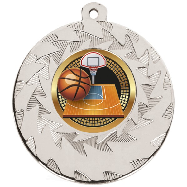 Prism Basketball Medal Silver 50mm