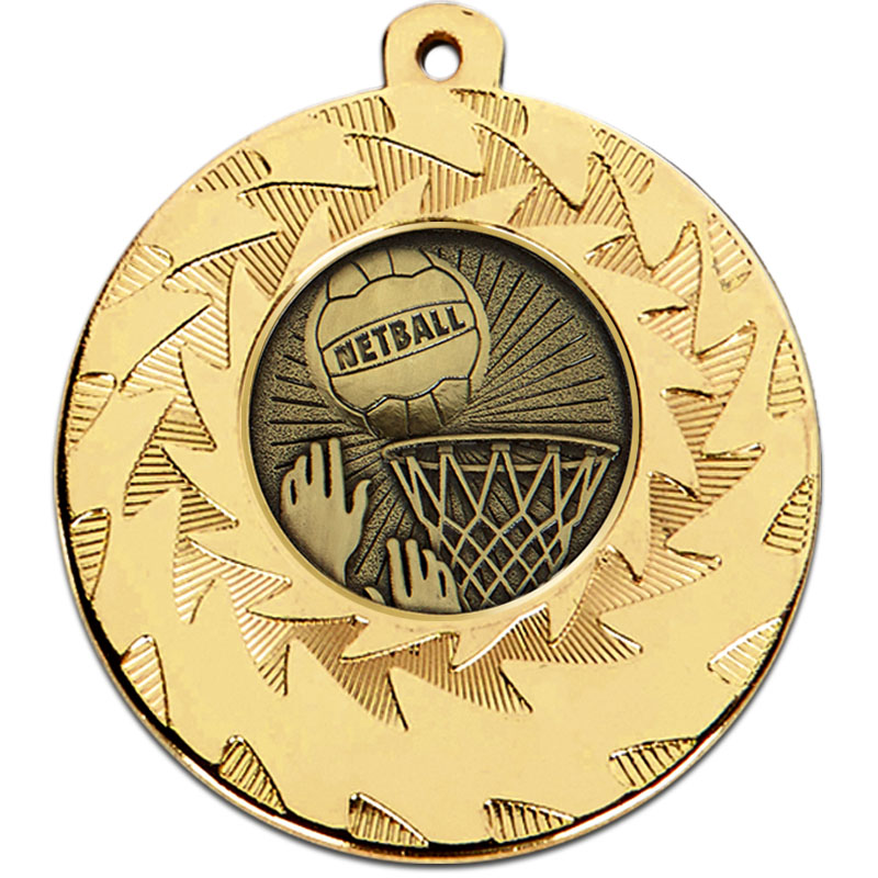 Prism 50mm Netball Medal Gold
