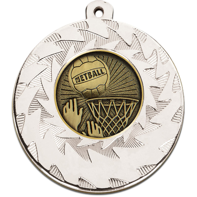 Prism 50mm Netball Medal Silver