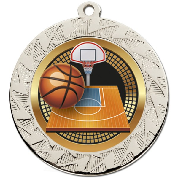 Prism Basketball Medal Silver 70mm