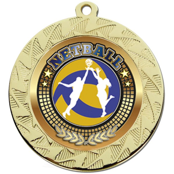 Prism 70mm Netball Medal Gold