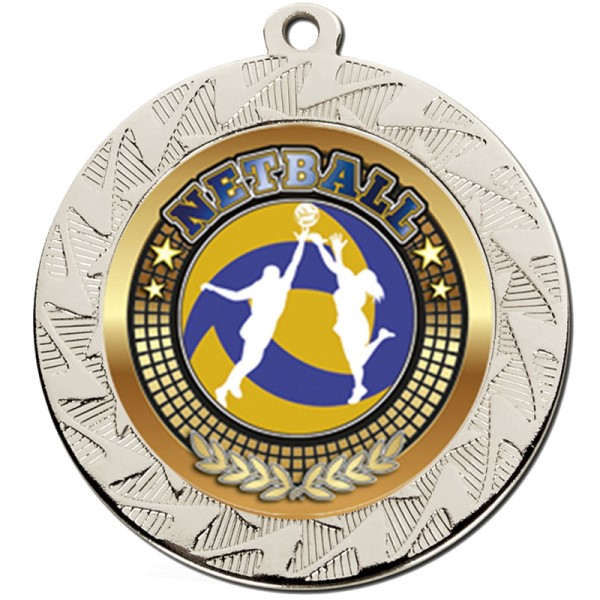 Prism 70mm Netball Medal Silver