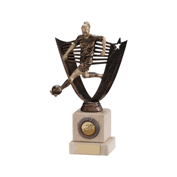 Cosmic Striker Female Football Trophy Antique Bronze 210mm