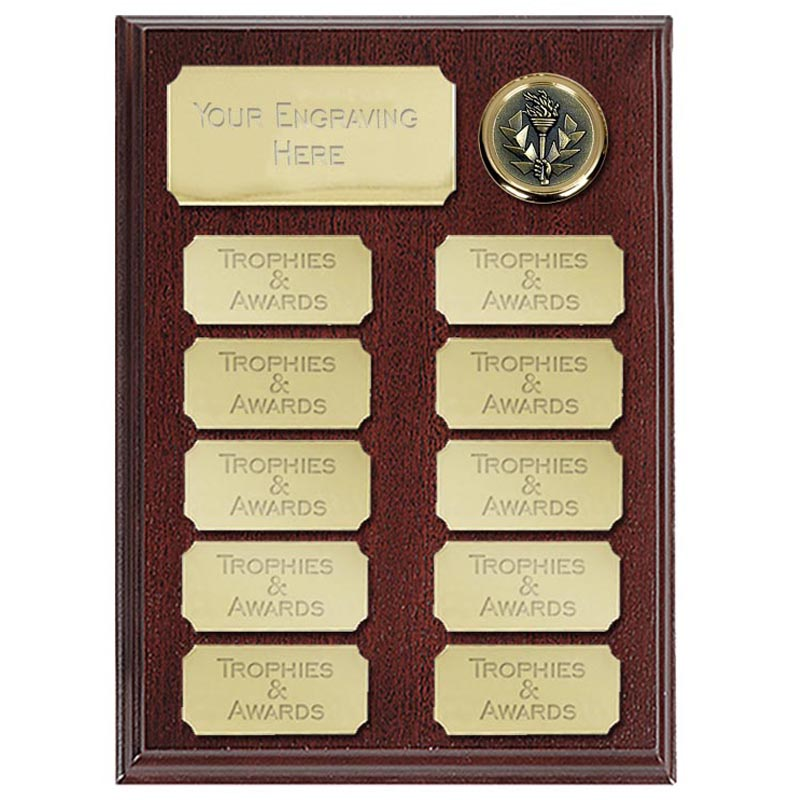 Ashfield Economy Presentation Plaque Gold 200mm