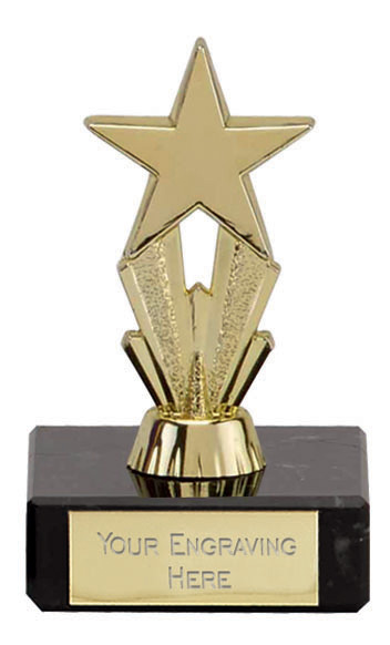 Micro Gold Star Marble Trophy 8cm