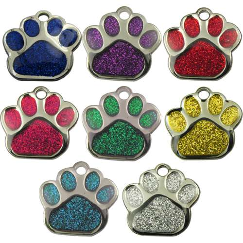 Paw shaped Glitter Pet Tag 27mm