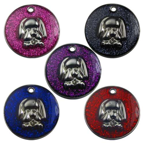 Dog Face Glitter Pet Tag 25mm