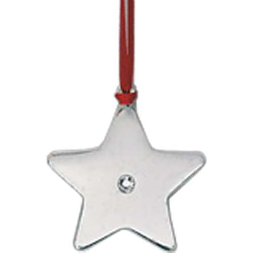Nickel Plated Star Hanging Tree Decoration with Crystal